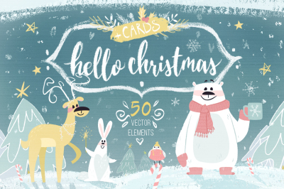 Hello Christmas vector set