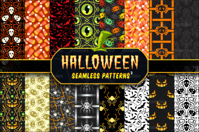 Halloween Seamless Patterns Set 2