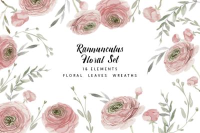 Watercolor floral set elements