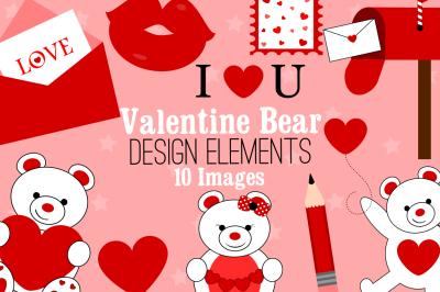 Valentine Bear Design Elements, Clip Art