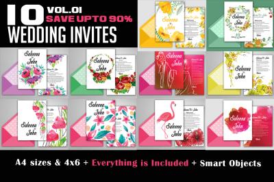 10 Wedding Invitation Flyers Bundle Vol:01