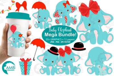 Baby Elephant Bundle clipart, graphics, illustrations, patterns