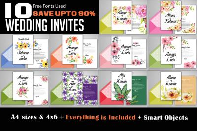 10 Floral Wedding Invitation Flyers Bundle Vol:02