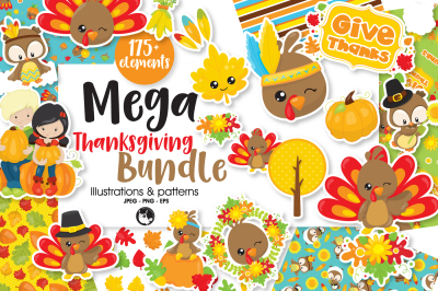 Mega Thanksgiving Bundle, over 175+ Elements