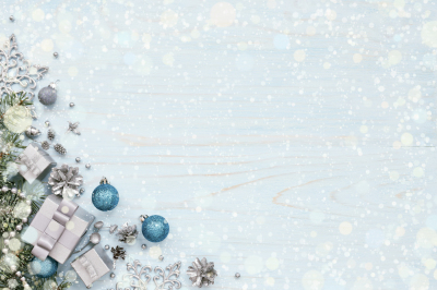 Blue Christmas card with snow