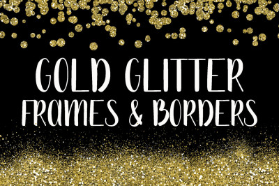 Gold Glitter Frames and Borders PNG Clipart Bundle - Includes 64 squares, circles, borders and more!