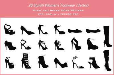20 Women's Footwear (vector)