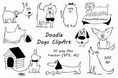Doodle Dogs Clipart