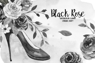 Watercolor Black Rose Clip Art