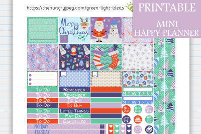 Winter Christmas MINI Happy Planner Stickers