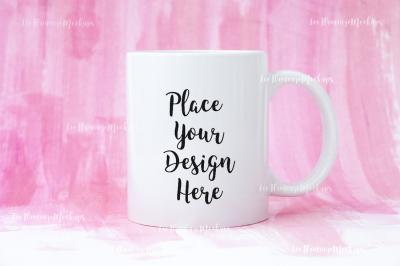 White Coffee mug mockup pink background PSD smart object cup mock up