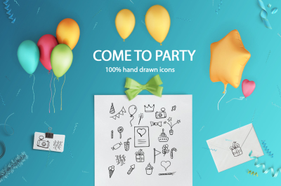 COME TO PARTY | hand drawn icons