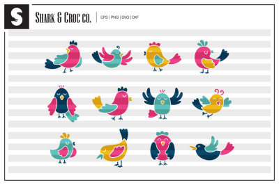 'Colorful Birds' cut files