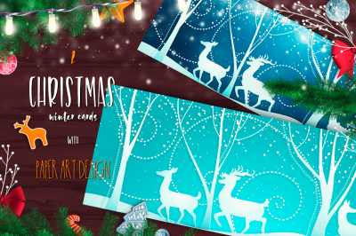 Beautiful Christmas backgrounds with graceful deer and winter forest. Elegant Paper art design.