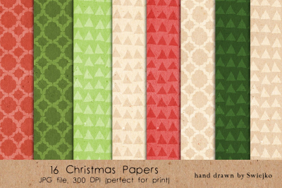 Christmas patterns, cardboard texture