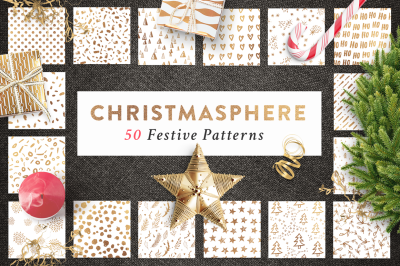 50 Christmas Seamless Patterns