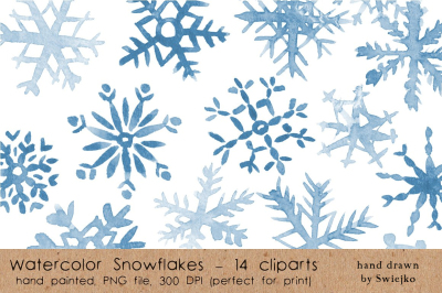 Watercolor Snowlakes, holiday clipart