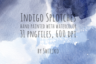 Watercolor Indigo splotches
