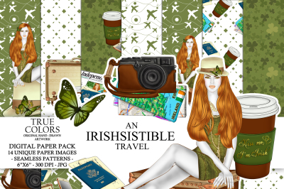 St. Patricks Day Digital Paper Pack Travel Girl Fashion Illustration Planner Stickers Supplies Seamless Irish Mint Watercolor Background