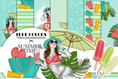 Summer Time Digital Paper Pack Fashion Illustration Planner Sticker Supplies Seamless Blue Pink Green Watercolor Background Ocean Tropical