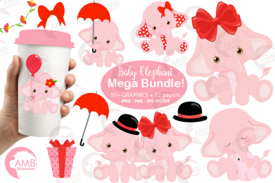 Elephant babies in pink 55 clipart, graphics and 13 patterns AMB-2276