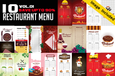 10 Restaurant Menu Bundle
