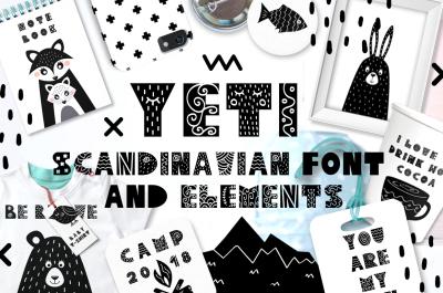 Yeti - Scandinavian font & elements