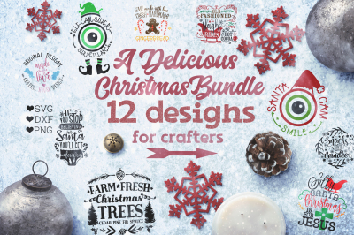 Christmas Cut Files Bundle for Crafters (SVG, DXF, PNG)
