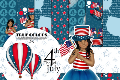 Independence Day Paper Pack Fashion Illustration Planner Sticker Supplies Seamless Navy Blue Red Watercolor Background Girl American Map
