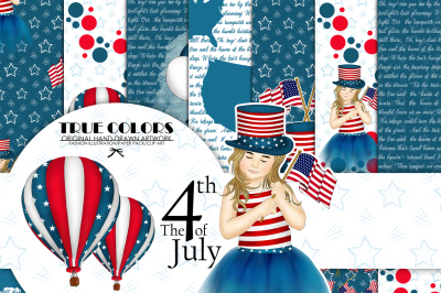 Independence Day Paper Pack Fashion Illustration Planner Sticker Supplies Seamless Navy Blue Red Watercolor Background Girl American Flag