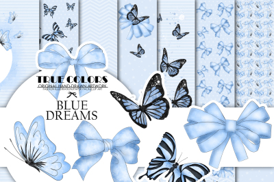 Blue dreams Baby Boy Paper Pack Fashion Illustration Planner Sticker Supplies Seamless Blue Black Butterfly Butterflies Ribbon Watercolor