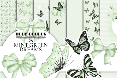 Mint Green Dreams Baby Paper Pack Fashion Illustration Planner Sticker Supplies Seamless Green Black Butterfly Butterflies Ribbon Watercolor