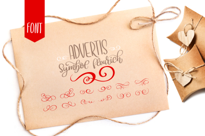 Advertis ornament calligraphy flourish font