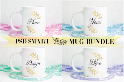 4 Bundle Spring Easter coffee mug mockup feminine psd smart cup mock