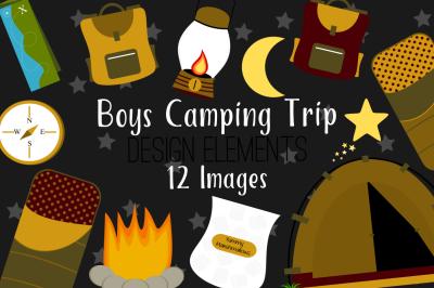 Boys Camping Trip Design Elements, Clip Art
