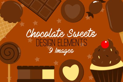 Chocolate Sweets Design Elements, Clip Art