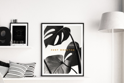 Just Breathe Sign, Black Monstera Leaf Poster