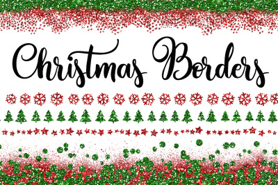 Christmas Glitter Borders PNG Overlays - Includes 40 red and green clipart images!