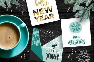 12 Christmas and New Year cards.