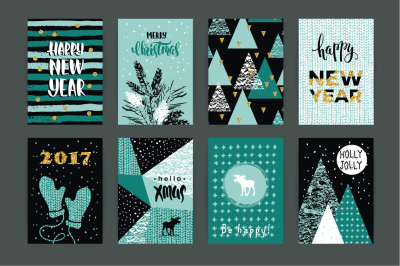 8 Christmas and New Year cards.