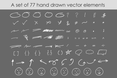 Hand drawn vector elements