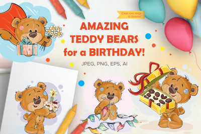 Lovely teddy bears. Happy Birthday.