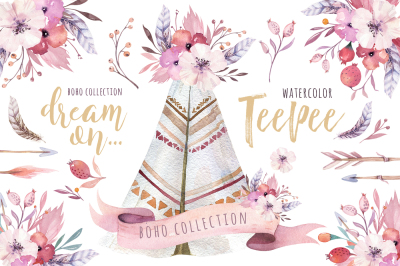 Watercolor teepee collection