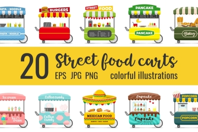 BUNDLE -25% OFF:  20 fast food street carts