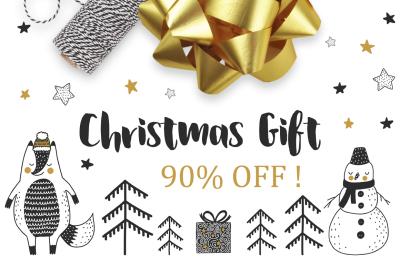Christmas gift winter vector set