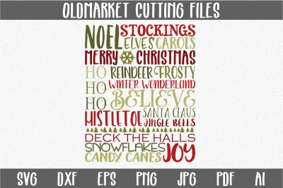 Christmas Subway Art SVG Cut File - Christmas SVG - DXF - PNG - JPEG - PDF - EPS - AI