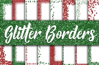 Christmas Glitter Borders Digital Paper