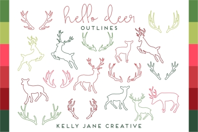 Christmas Deer & Antler Silhouette & Outlines