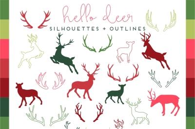 Christmas Deer & Antler Silhouette & Outlines