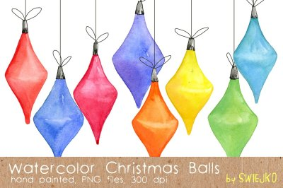 Christmas balls, watercolor